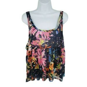 Free People Tank Top Black Baby Doll Bright Color
